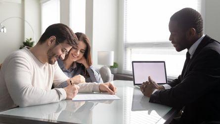 A couple working with their mortgage lender